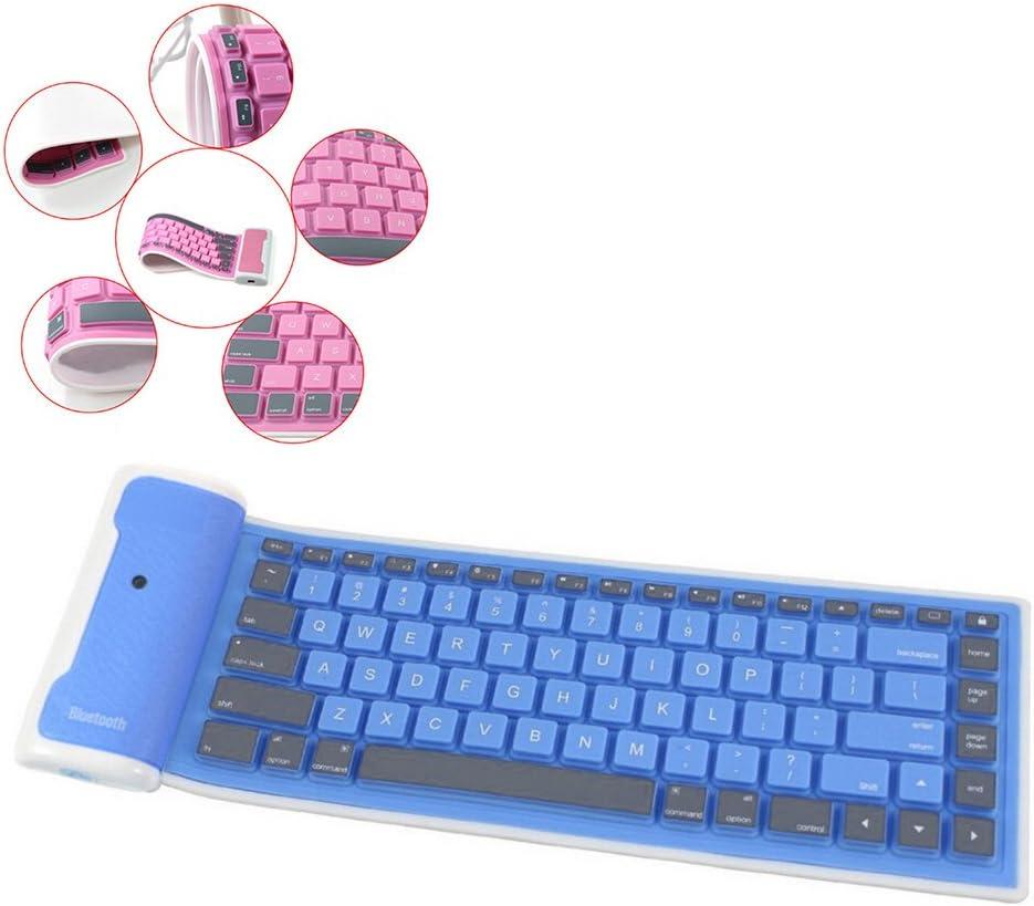 ESupFly portátil Impermeable inalámbrico Bluetooth Silicona Flexible Plegable Teclado Plegable para iOS, Android, Windows