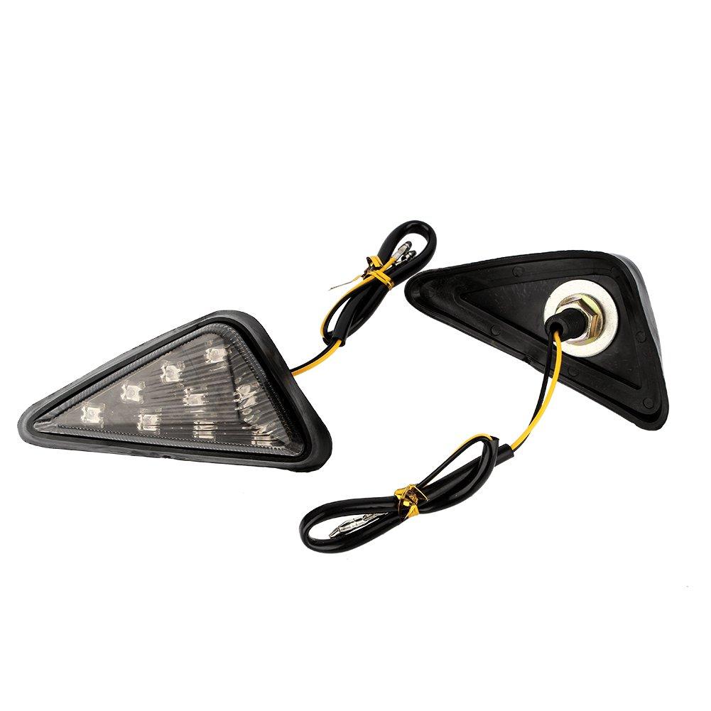 luces indicadoras de 12 V Eurotri/ángulo 2 luces LED de /ámbar para motocicleta luces indicadoras de montaje a prueba de humo luz amarilla