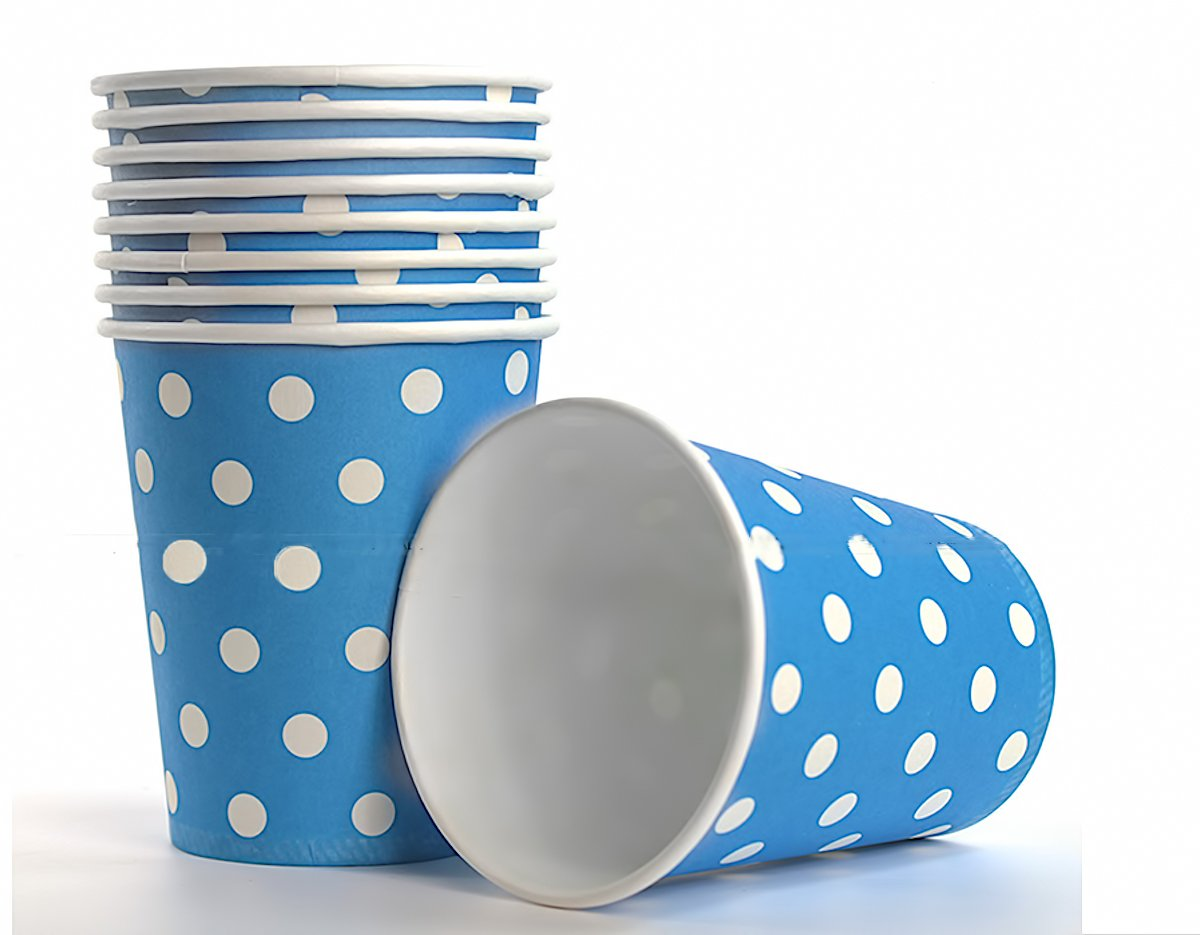 50 x Becher 200ml dots blau, gelb, gr/ün, rot Einwegbecher f/ür Getr/änke Snacks Hei/ß- und Kaltgetr/änke Punkte Pappbecher