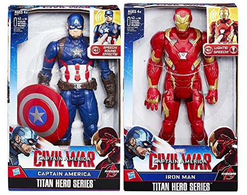 Marvel Titan Hero Series Electronic Figure Bundle Pack Captain America Iron Man