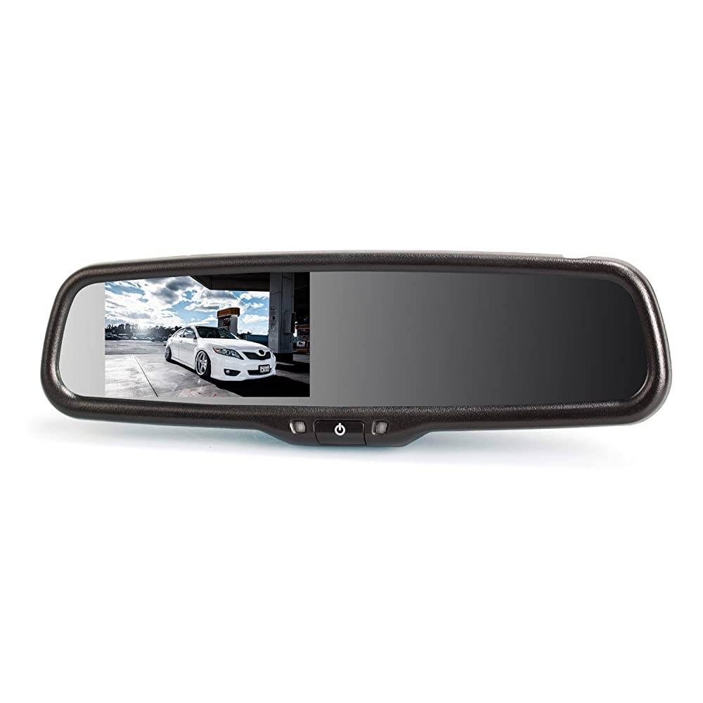 "AUTO-VOX Dual Video Inputs 4.3"" Auto Adjusting Brightness Car Rear View Mirror for Toyota Honda Nissan Mazda Hyundai Kia Ford Pickup and Most Car Model"