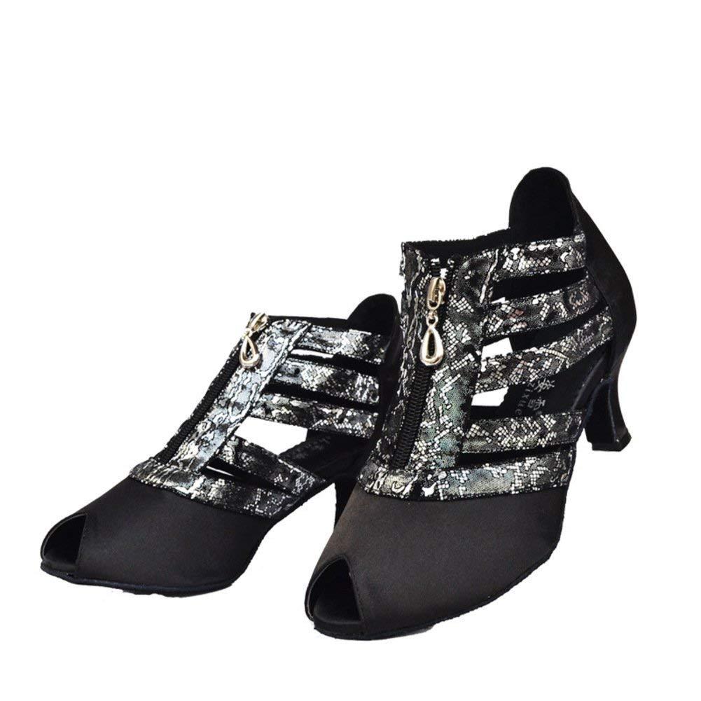Fuxitoggo damen Latin Dance Schuhe, Sandale Sandale Sandale Soft Bottom Printed Social Dance Schuhe Ballsaal Tanzschuhe (Farbe   Schwarz, Größe   Foot Length24.8CM9.8Inch) B07MC2VRHL Tanzschuhe Flut Schuhe Liste c512b6