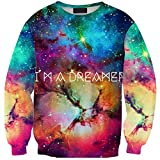 Girl's Printed ''I'm A Dreamer'' Galaxy Sweatshirt Crew Neck Pullover Long Sleeve Slim Fit One Size