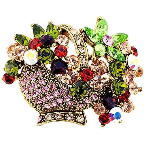 Fantasyard Mutlicolor Crystal Flower Basket Pin Swarovski Crystal Flower Pin Brooch ()