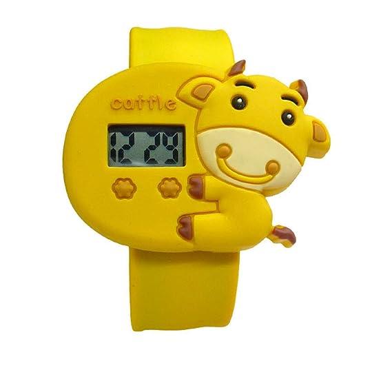 Bebé de dibujos animados amarillo unisex niños resistente al agua deportes reloj de pulsera, reloj con correa de goma: Amazon.es: Relojes