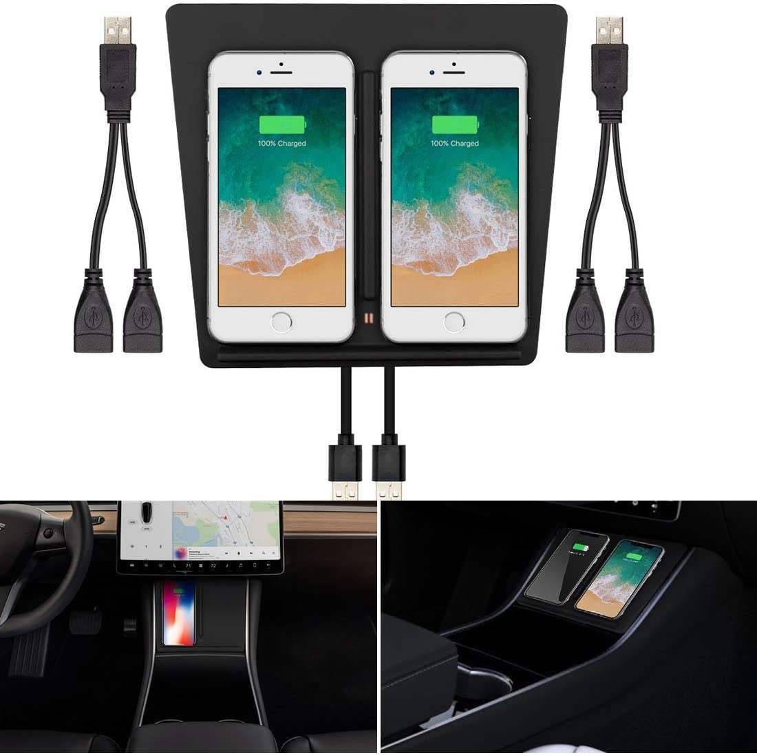No Software Issue Upgraded Version 2 Wireless Phone Charger Pad Dock Center Dock Center Console Dual Phones Charging M3FUTURE Tesla Model 3 Accessories
