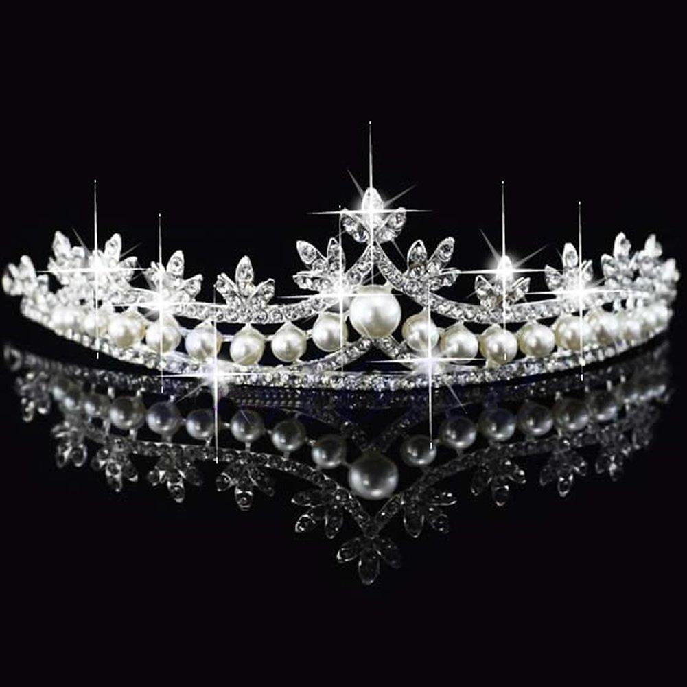 LDA Get Fresh des Frais de mari/ée Voile Voile Couronne Princesse Strass Perle Cristal Cheveux diad/ème
