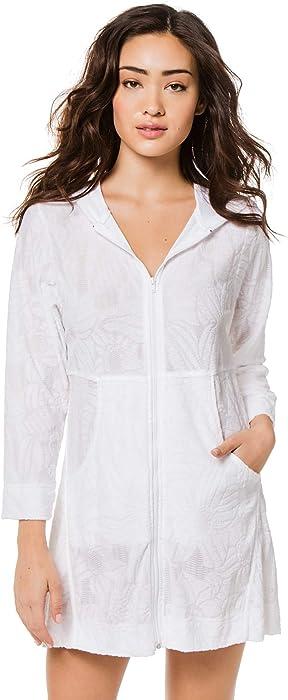 73816575ea J. VALDI Women's Wovens Hooded Zip Front Tunic Swim Cover Up White S ...