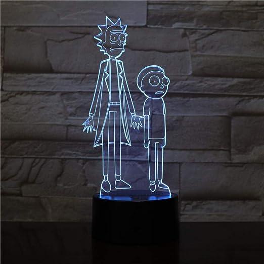 Lámpara De Mesa De Luz Nocturna 3D Dormitorio Sensor Táctil ...