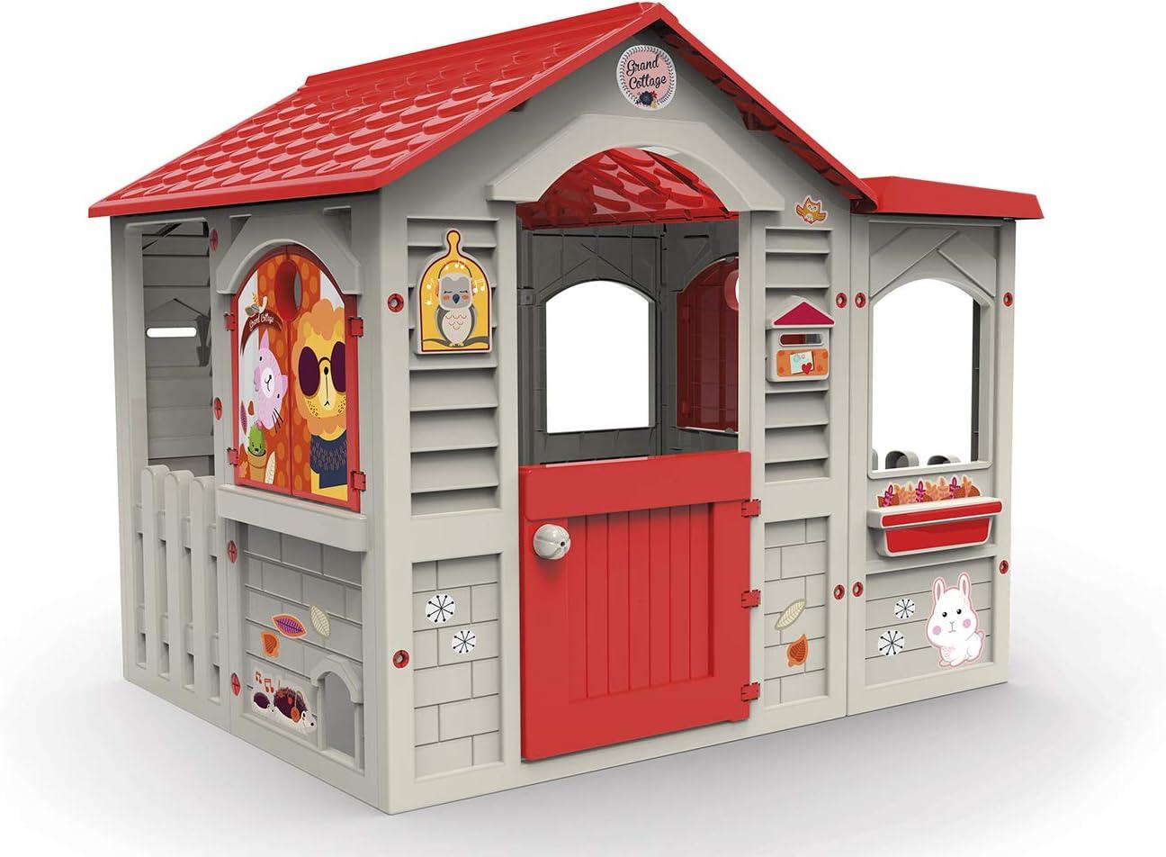 Chicos Casita Infantil de Exterior Grand Cottage XL, Color Beige con tejado Rojo, única (La Fábrica de Juguetes 89627)