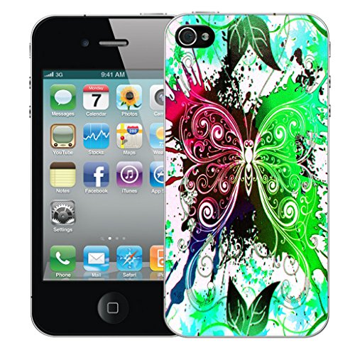 Mobile Case Mate iPhone 4s Silicone Coque couverture case cover Pare-chocs + STYLET - Green Dragonfly pattern (SILICON)