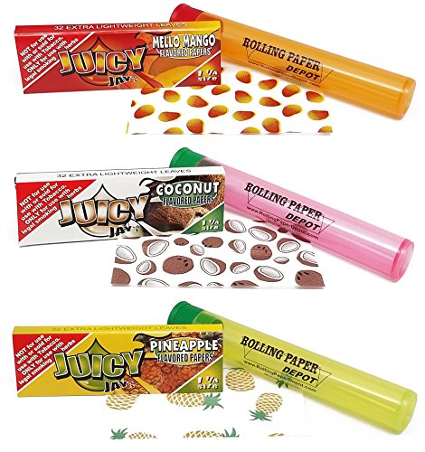 Bundle - 6 Items - Juicy Jays ''Tropical Fruit'' Flavors - 1 1/4 Flavored Rolling Papers by Juicy Jay's