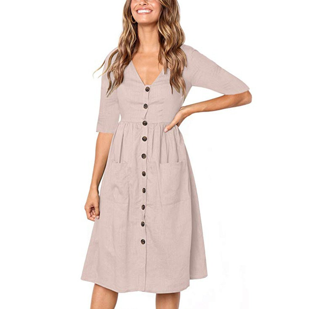 V-Neck Button mid-Sleeve Dress Ladies Casual Holiday Beach high Waist A-line Skirt MEEYA Pink