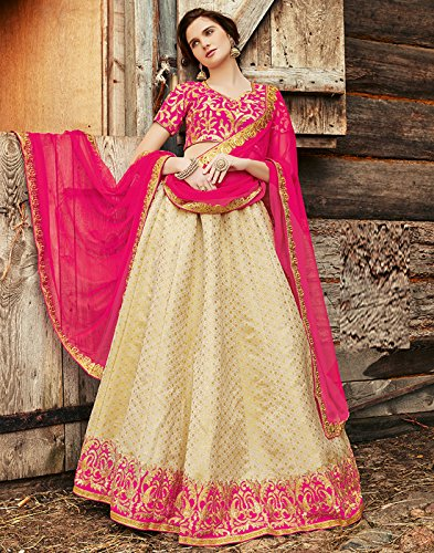 DesiButik's Wedding Wear Pleasant Beige Brocade Lehenga by DesiButik (Image #1)