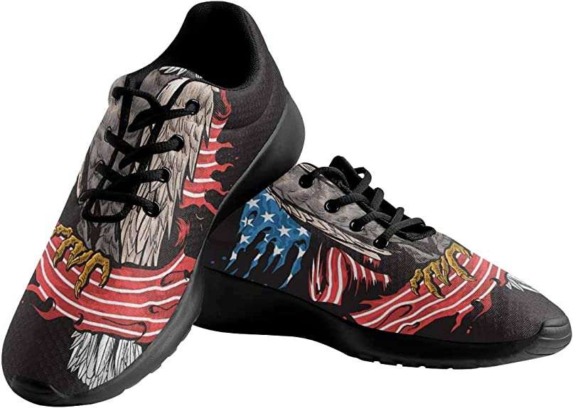 Camo Fierce Eagle American Flag Lady Classic Canvas Sneakers Comfortable Runners