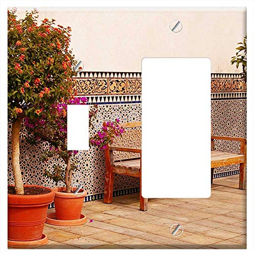 1-Toggle 1-Rocker/GFCI Combination Wall Plate Cover - Oriental Oriental Garden Gardens Of The World