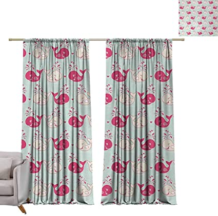 54 W X 72 L Blackout Curtains 2 Panels Rod Pocket Curtain Panels For Bedroom Kitchen Whale Cute Happy Cheerful Whales Pattern In Soft Pastel Tone Effects Love Nature Image Mint Peach Pink