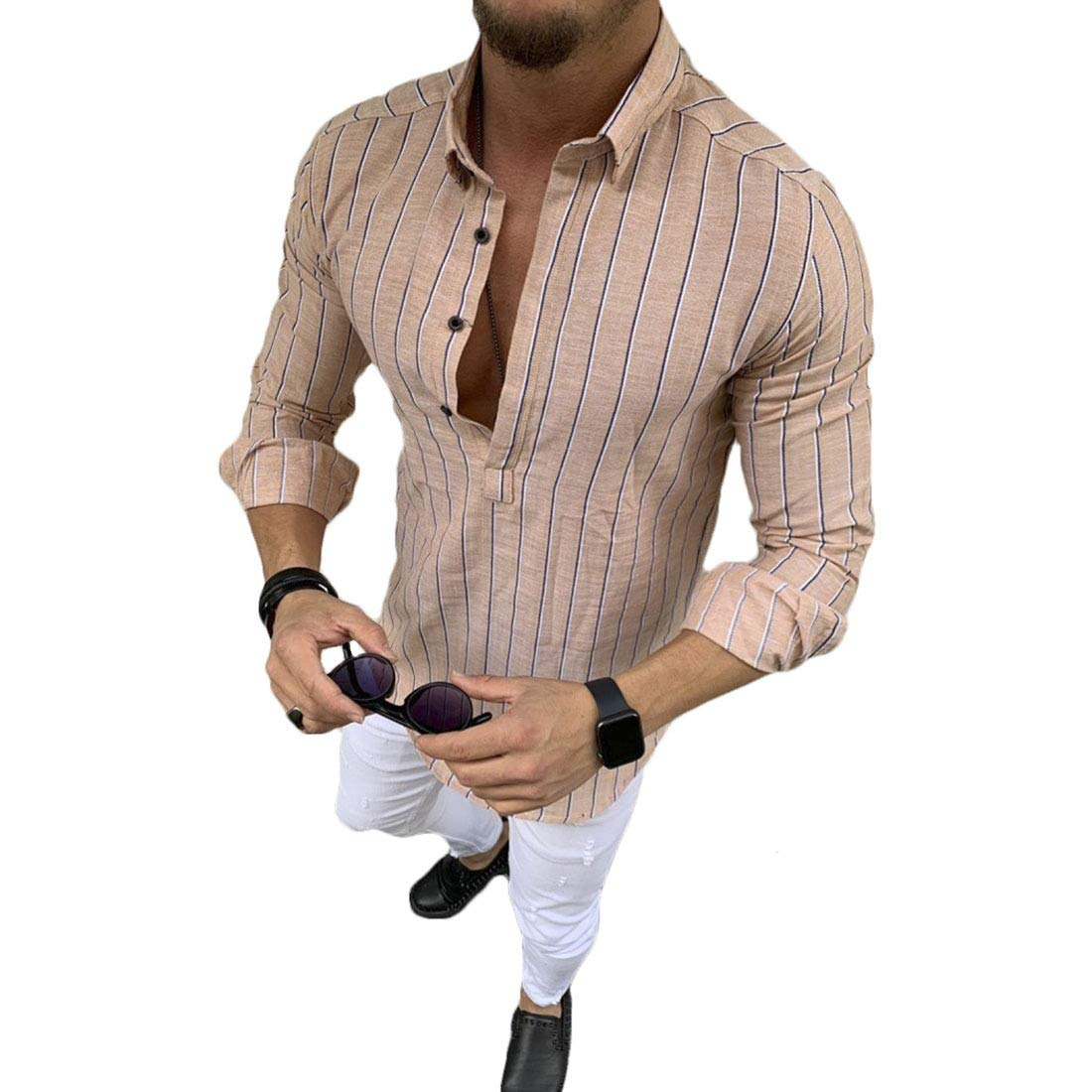 Comaba Mens Loose Button Down Summer Casual Comfy Striped Shirts