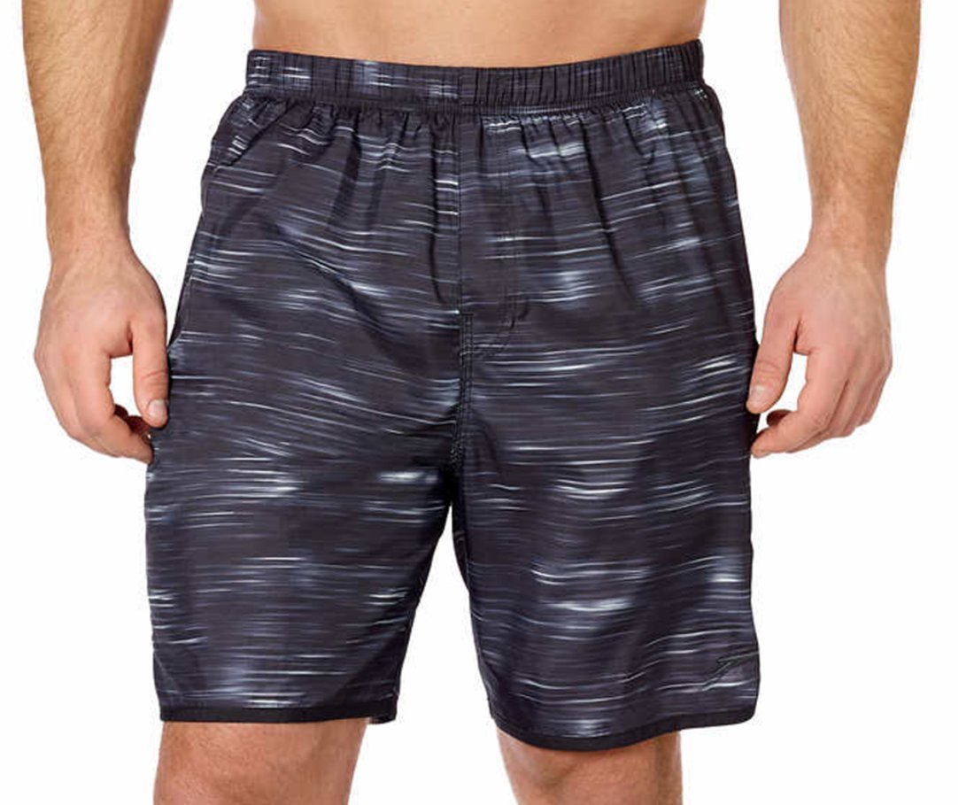 Speedo Men's Aquagon Colorblock Volley Shorts Workout & Swim Trunks(Black/Black,Large)