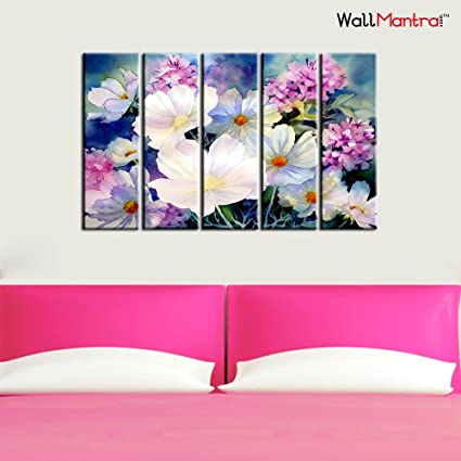 Amazon.com: WallMantra Beautiful Flower Bunch Wall Painting/5 Pieces ...