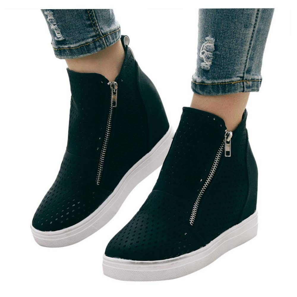 Platform Wedge Sneaker Booties for Womens High Top Side Zipper Height Increasing Ankle Booties (US:9.5-10.0, Black) by sweetnice Women Shoes
