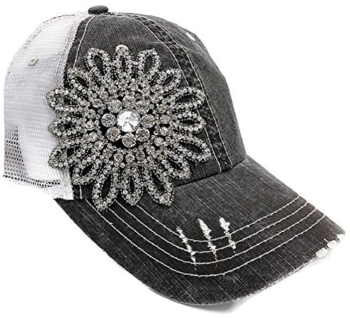 (Olive & Pique Women's Stitch Rhinestone Flower Trucker Cap (One Size, Charcoal))