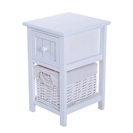 Homcom - Cajonera elegante, mueble de madera MDF y mimbre 28 ...