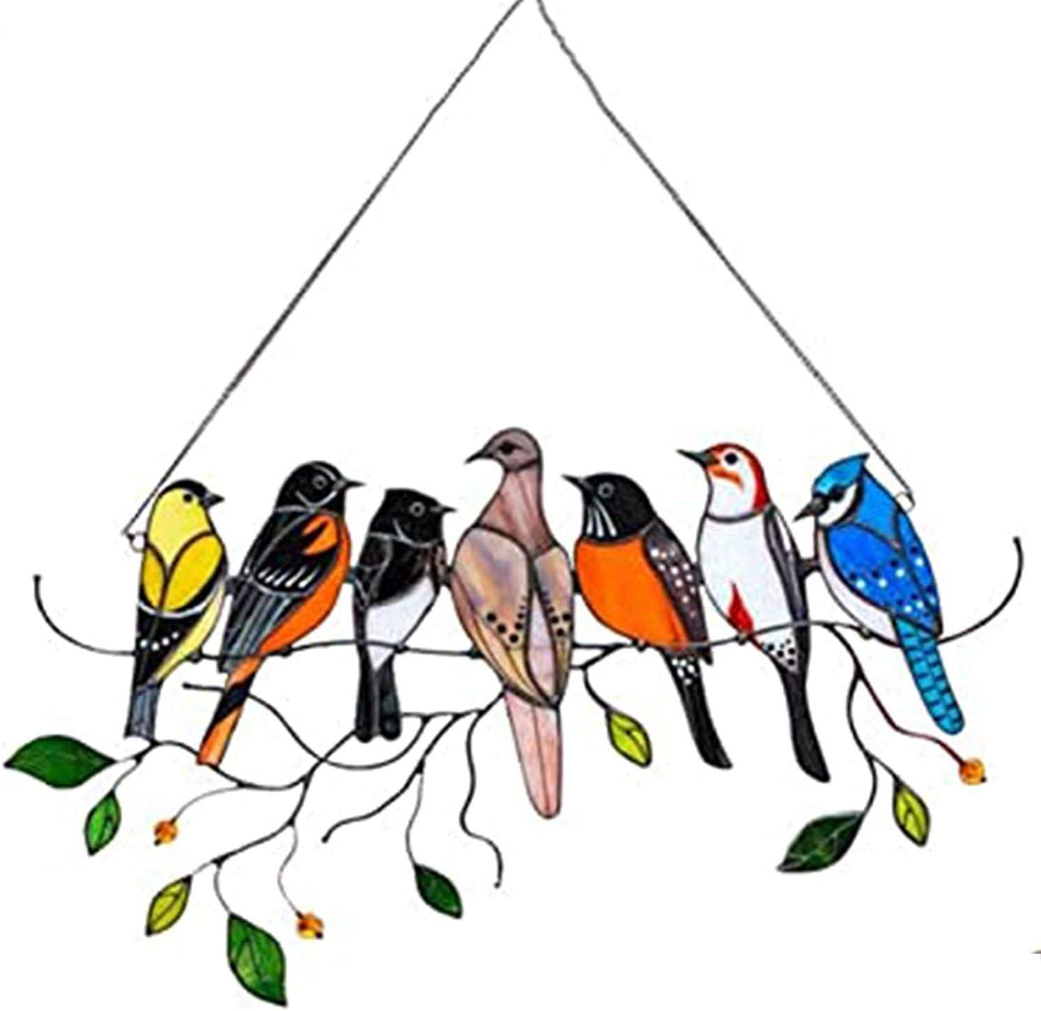 Multicolor Birds on a Wire Plastic Bird Suncatcher Window Hanging, Bird Series Ornaments Pendant for Windows Doors Room Home Decoration, Acrylic Birds Gifts for Bird Lover (A)
