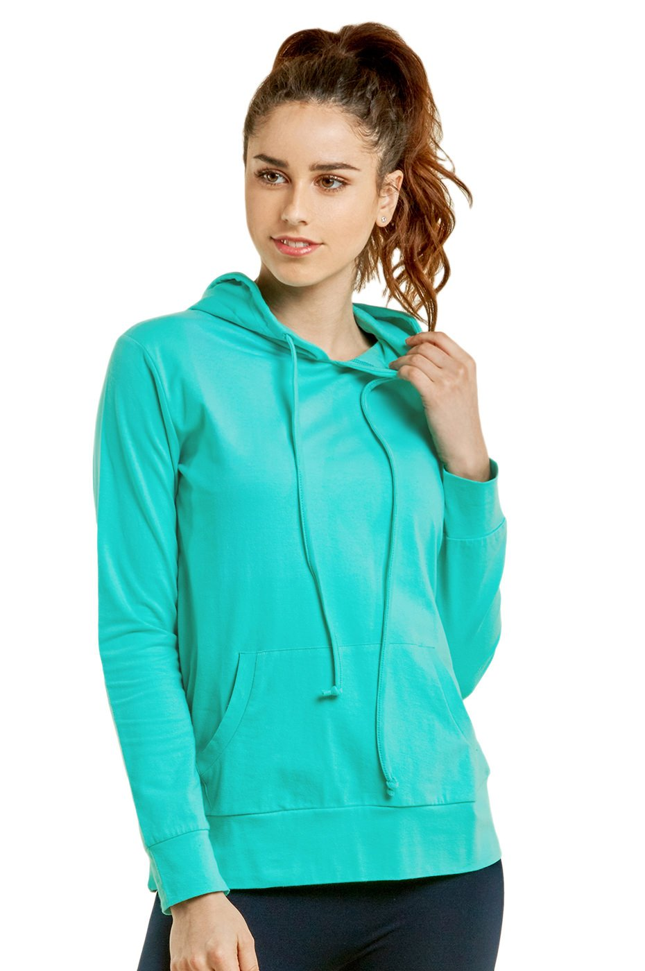 Women's Thin Cotton Pullover Hoodie Sweater (S, Mint)