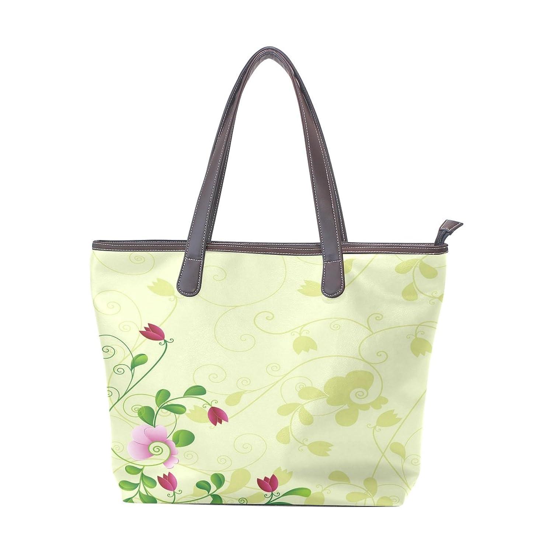 Women Large Tote PU Leather Shoulder Bags Flower And Shodow Ladies Handbag