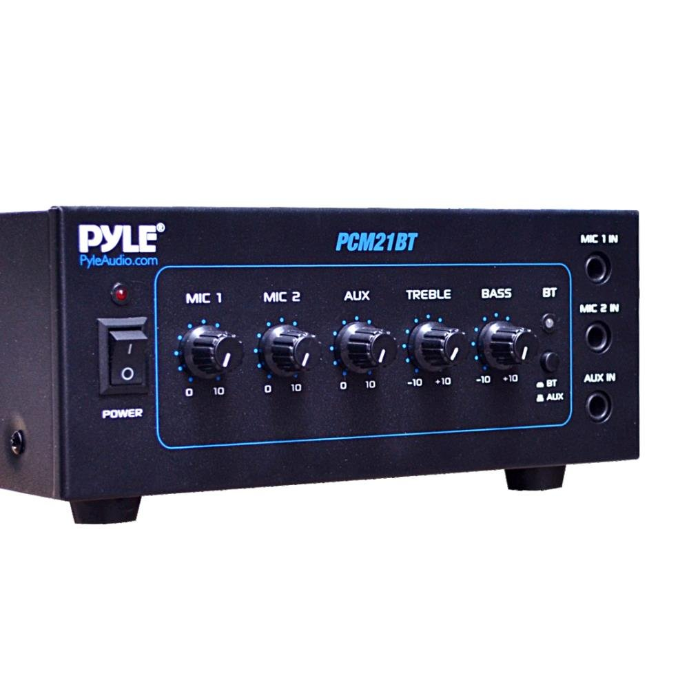 pyle pcm21bt 70v mini bluetooth power amplifier with two microphone inputs and b ebay. Black Bedroom Furniture Sets. Home Design Ideas