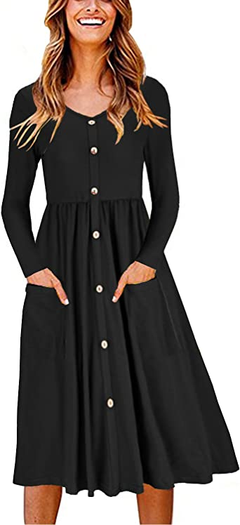 Ouges Women S V Neck Button Down Skater Dress With Pockets At Amazon Women S Clothing Store