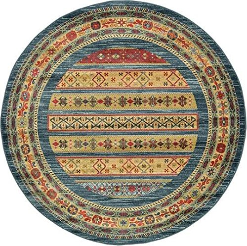Blue 6' Round Area Rug (Unique Loom Nomad Collection Blue 6 ft Round Area Rug (6' x 6'))