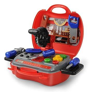 E T Caja de Herramientas Juguetes Niños 19pcs Construcción Juegos de rol utensilios Juega Juguete para 3