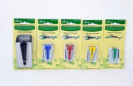 5 Doble Cara Pl/ástico Blando Blanco Sastre Cintas para Patchwork de Bricolaje Artes Manualidades Coser y Encuadernar Bias Tape Maker Jicyor 4 Accesorio Coser Bies Herramienta Clip Coser