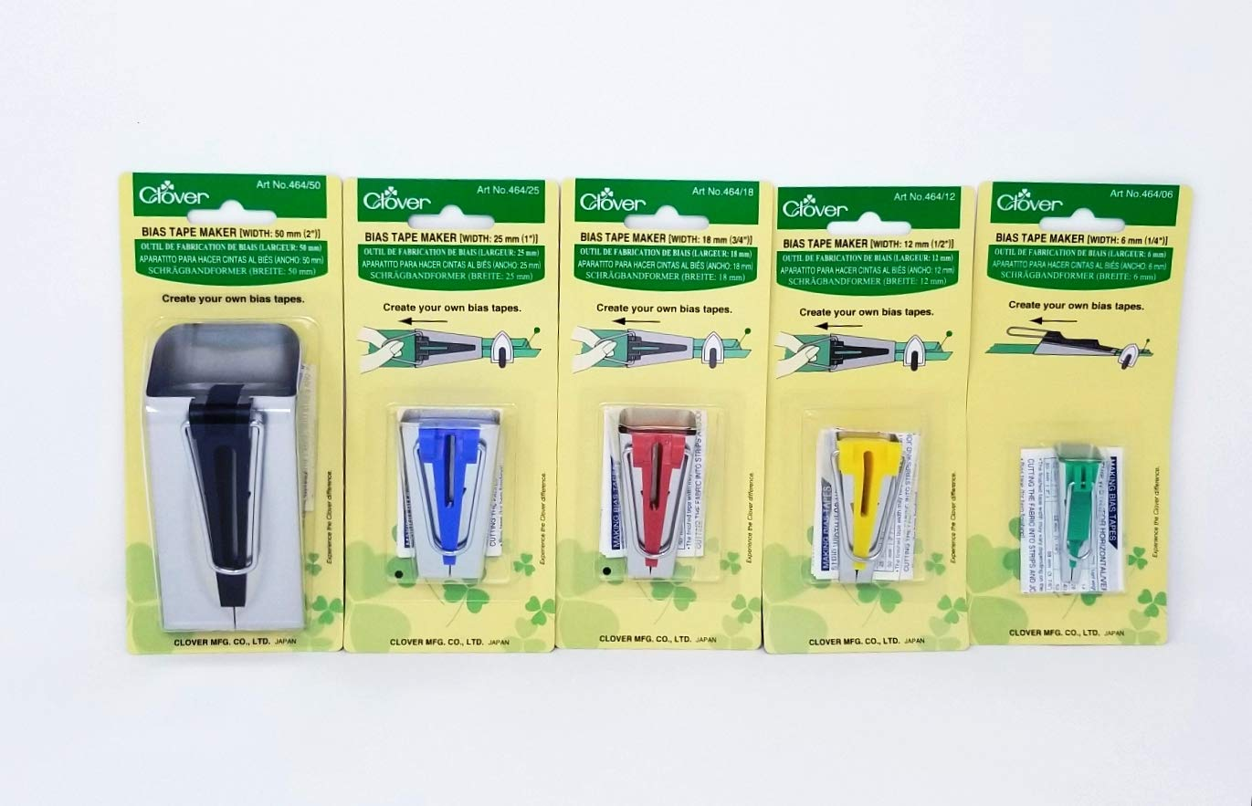 Clover Bias Binding Tape Maker Set #464 ~ Includes All 5 Sizes (1/4'',1/2'', 3/4'', 1'', 2'') by SHARP SEWING