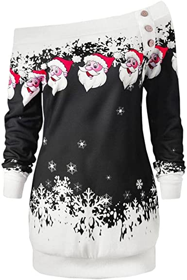 OverDose Camisas Mujer de Navidad Blusa Elegante Cuello Oblicuo Santa Copo de Nieve: Amazon.es: Ropa y accesorios
