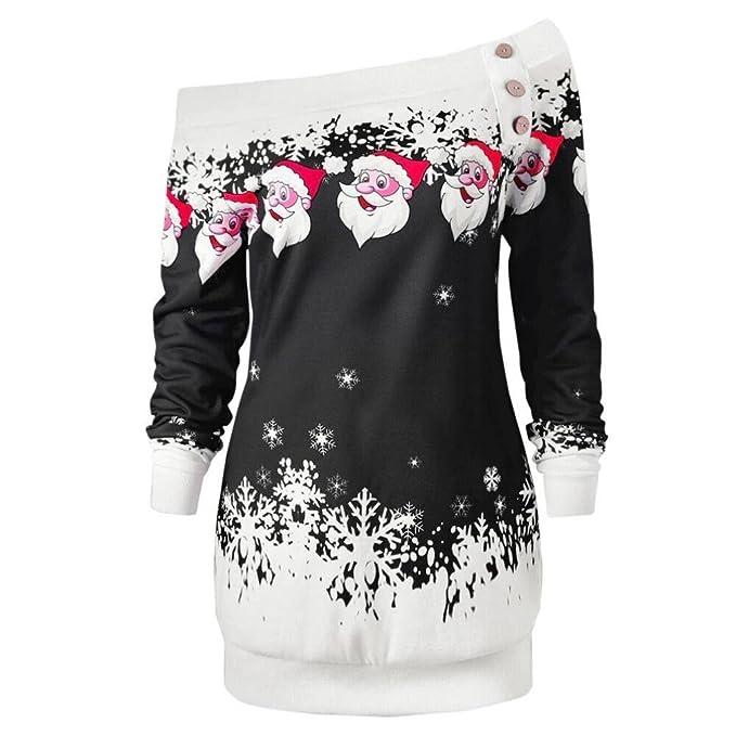 OverDose Camisas Mujer de Navidad Blusa Elegante Cuello Oblicuo Santa Copo de Nieve