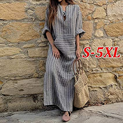 S-5XL Women Oversize Floral Print Long Maxi Dress Loose Kaftan Full Length Dress