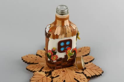 Botella de vidrio decorada hecha a mano objeto de decoracion adorno para casa