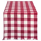 DII Cotton Woven Heavyweight Table Runner with Decorative Fringe for Spring, Summer, Family Dinners, Outdoor Parties, Everyday Use (14x108) Wine Check