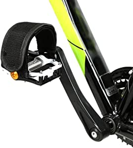 Black New Atozi Double Leather Strap Bike Bicycle Cycle Pedal Steel Toe Clips