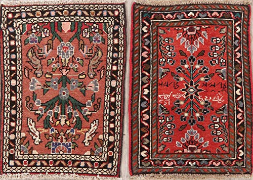 (Square Persian Area Rug Hand-Knotted Oriental Floral Wool Vintage 2x2 Carpet Red )