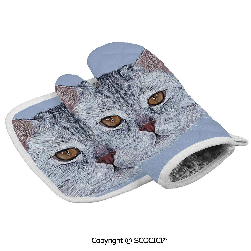 SCOCICI Baking Anti-Hot Glove Scottish Straight Kitty Portrait Pet Lovely Companion Hipster Animal Oven Microwave Mitts Pot with Square Mat