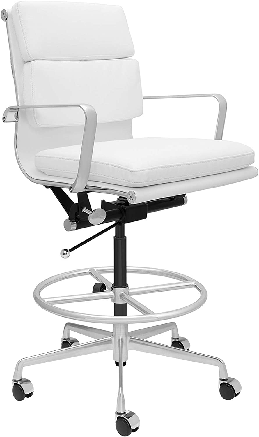 SOHO Soft Pad Drafting Chair - Ergonomically Designed and Commercial Grade Draft Height for Standing Desks (White)
