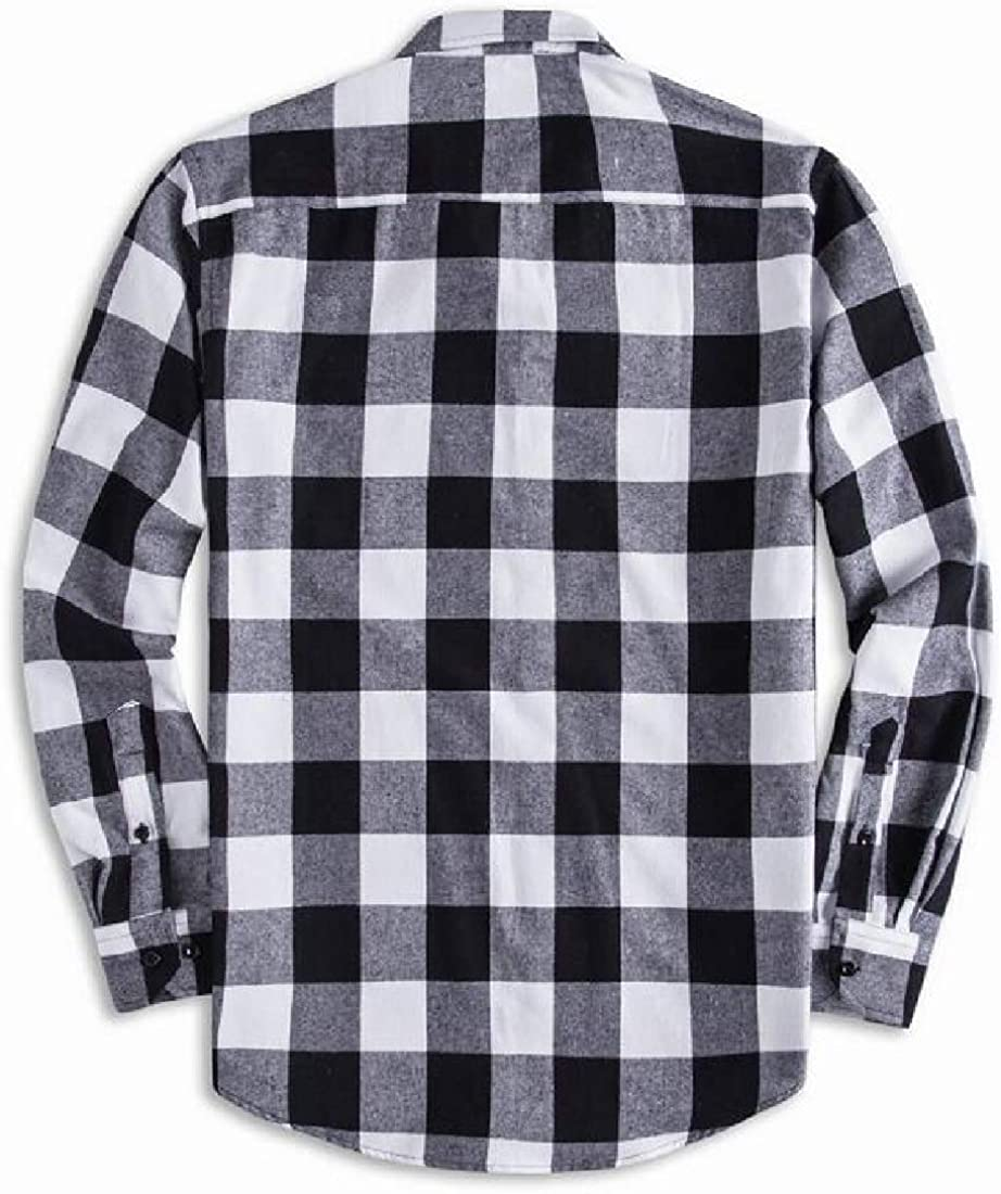 FSSE Mens Checkered Button Up Plus Size Casual Long Sleeve Dress Work Shirt