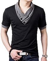 L'asher Men Summer Fashion Button V Neck Slim Muscle Tops Tee T Shirt Tshirt