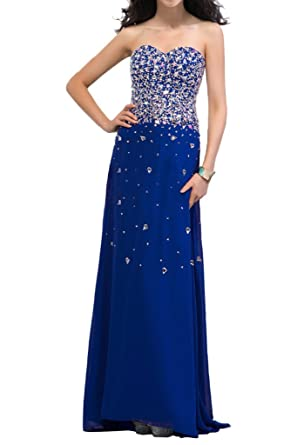 Sunvary Exquisite Sheath Chiffon Rhinestones Long Evening Dresses Prom Gowns: Amazon.co.uk: Clothing