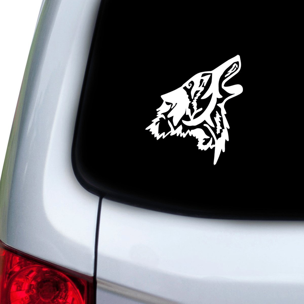 StickAny Car and Auto Decal Series Wolf Howl Sticker for Windows White Doors Hoods
