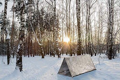 Emergency-Mylar-Survival-Shelter-Tent-With-Survival-Fire-Starter-Kit-Whistle-And-Compass-8-X-5-All-Weather-Tube-Tent-Survival-Tent-For-2-Protect-Against-Weather-Conserves-Heat